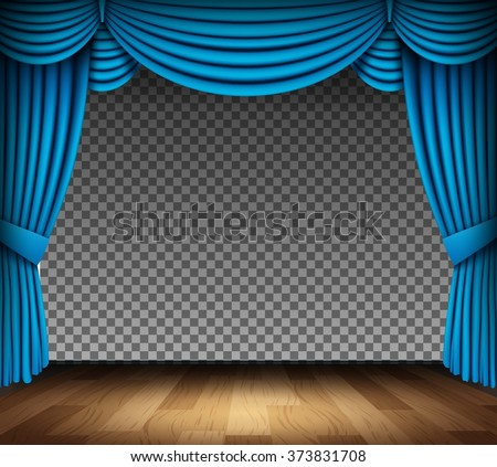 Blue curtain of classical theater with wood floor on transparent background - stock vector