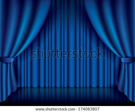 Blue curtain performance background photo-realistic vector illustration