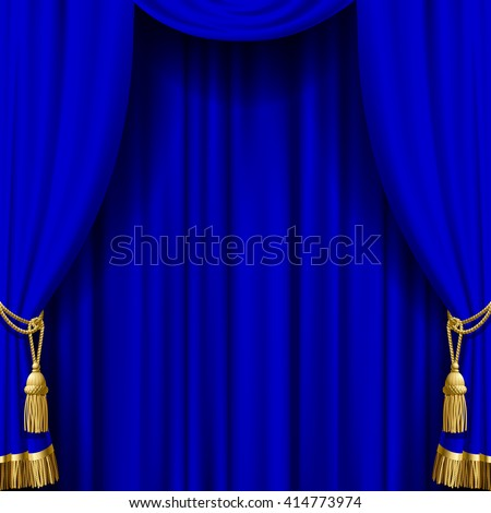 Blue curtain with gold tassels. Artistic poster and background. Vector illustration - stock vector