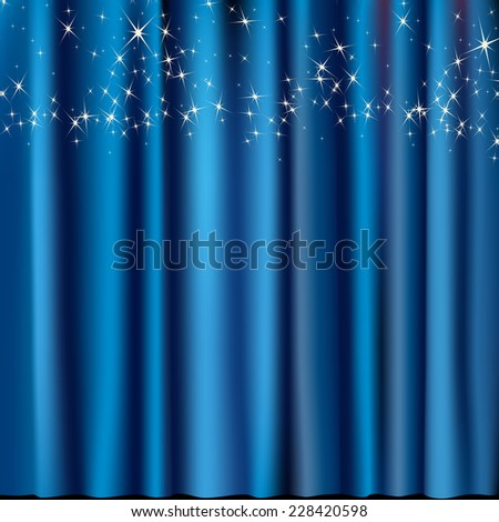 blue curtain with stars - stock vector