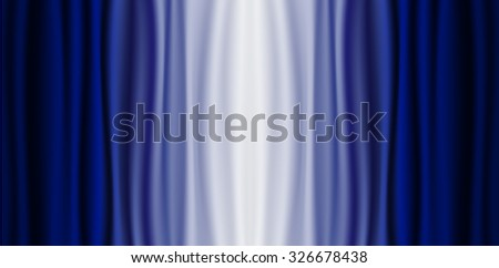 Blue curtain with white light at the center, Concept for background