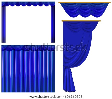 Blue Curtains On White Background Illustration
