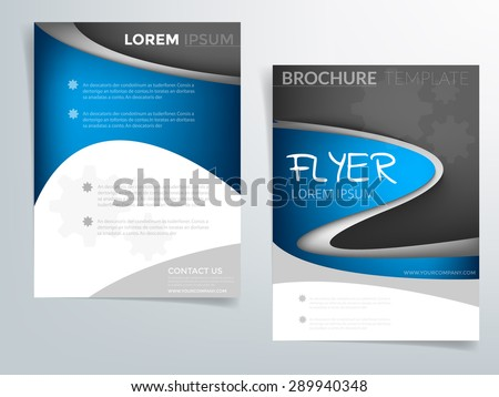 Blue curve brochure template vector background flyer design with blue elements curve line on white and black space concept idea and sample text for text and message brochure artwork design in A4 size - stock vector