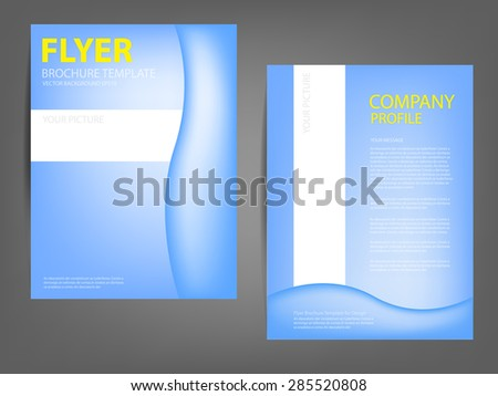 Blue curve line brochure template flyer background design for A4 paper size with space for text and message design - stock vector