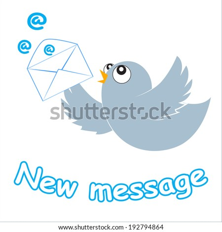Blue cute cartoon bird with envelope and a new message