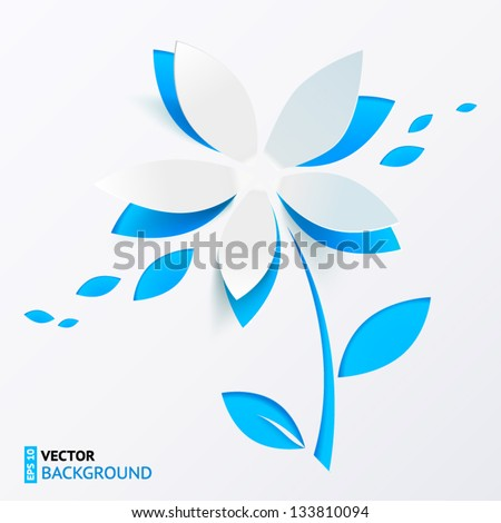 Blue cutout paper flower vector greeting card - stock vector
