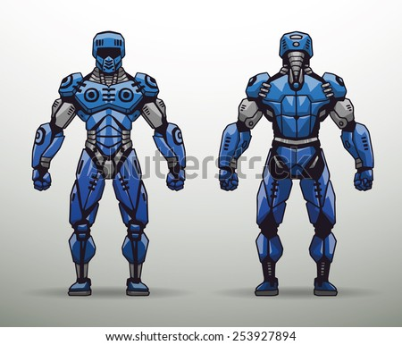 Blue Cyborg soldier, vector - stock vector