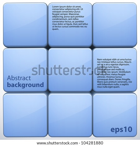 Blue 3d cube abstract background. Vector illustration - stock vector
