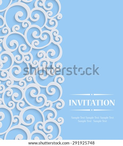 Blue 3d Floral Curl Wedding or Invitation Card with Swirl Damask Pattern - stock vector