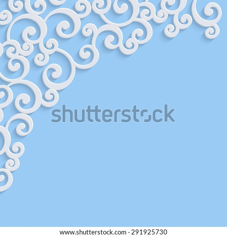 Blue 3d Floral Swirl Background with Curl Pattern for Wedding or Christmas Invitation Card. Vector Abstract Vintage Design - stock vector
