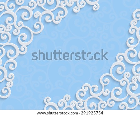 Blue 3d Floral Swirl Horizontal Background with Curl Pattern for Wedding or Invitation Card. Abstract Vector Vintage Christmas Design Template - stock vector