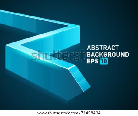 Blue 3d graph arrow move down vector background - stock vector