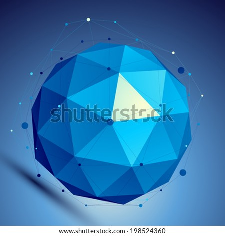 Blue 3D modern perspective abstract background, origami facet spherical structure with wire network. - stock vector