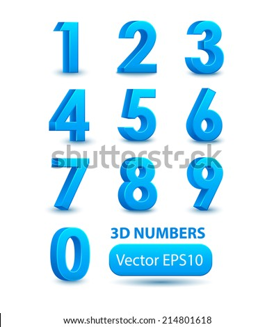 Blue 3d numbers. Vector set. - stock vector