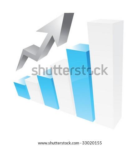 Blue 3D statistic chart graph - stock vector