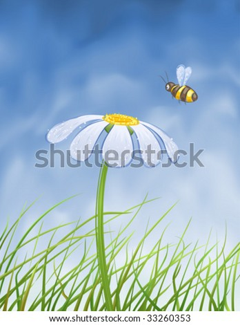 Blue daisy and a bee collecting honey over blue gradient mesh sky (vector image, other flowers are in my gallery) - stock vector