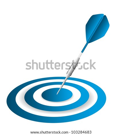 blue dart and dartboard isolated over white background. vector