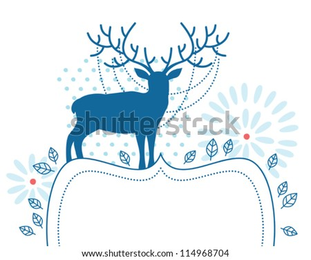 Blue deer with decorated frame