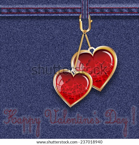 """Blue denim background with keyfobs in the form of glass hearts with inscription """"Happy Valentine's Day!  Vector illustration. - stock vector"""