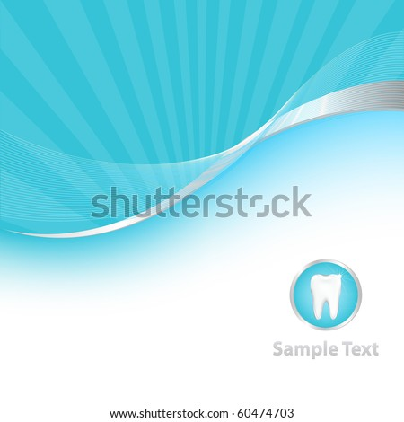 Blue Dental Background With Tooth, Vector Illustration - stock vector