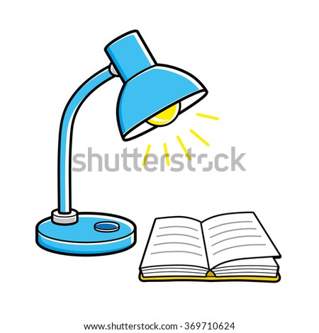 Blue desk lamp and an open book. - stock vector
