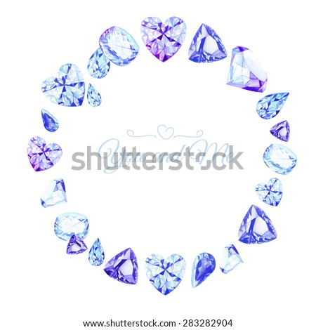 Blue diamonds watercolor round vector design frame. All elements are isolated and editable. - stock vector