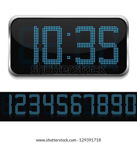 Blue digital clock, vector eps10 illustration - stock vector