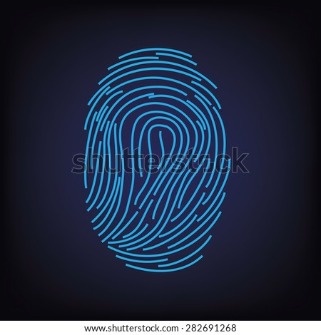 Blue digital silhouette of fingerprint on black background vector illustration, fingerprint icon, fingerprint scan - stock vector