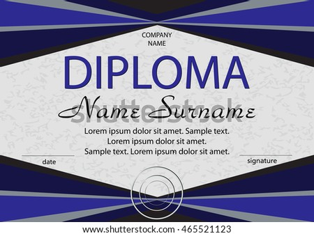 Blue diploma or  certificate. Reward. Winning the competition. Award winner. Vector illustration. The text on separate layer.