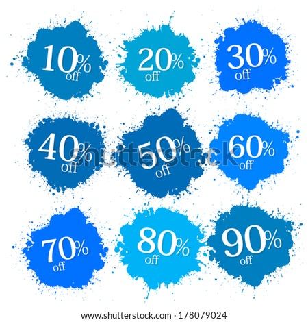 Blue Discount Labels, Stains, Splashes  - stock vector