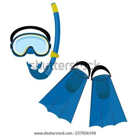 Blue diving mask, diving tube, swimming equipment, flippers - stock vector