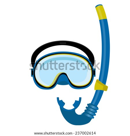 Blue diving mask, diving tube, swimming equipment, snorkeling - stock vector