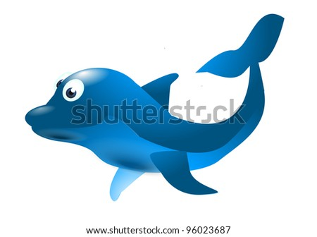 blue dolphin isolated on the white background
