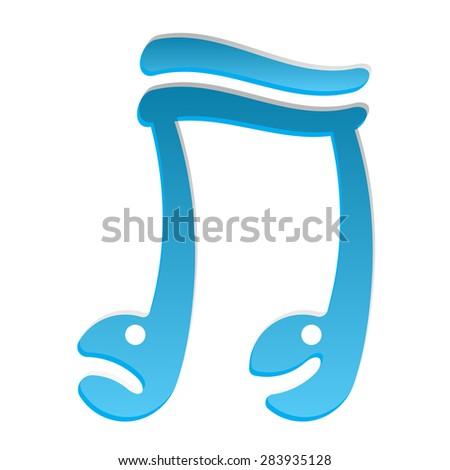 blue doodle cartoon music smiley note logo vector  - stock vector