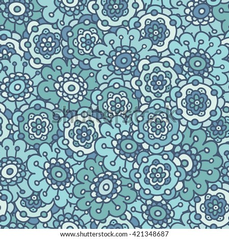 Blue doodle floral seamless pattern, hand drawn vector illustration. Abstract  flower   background. Cute  backdrop.