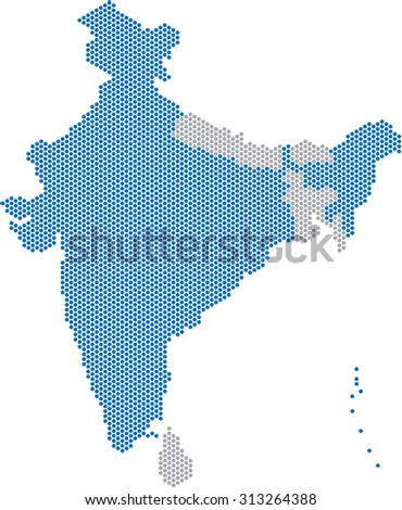 Blue dots India map and nearby countries on white background. Vector illustration.