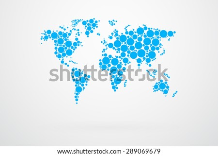 Blue dots world map vector vectores en stock 289069679 shutterstock blue dots world map vector gumiabroncs Images
