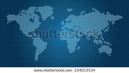 Blue Dotted Map of the World radial fill - stock vector