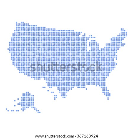 Blue Dotted USA Map on White Background. Vector illustration - stock vector