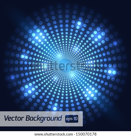 Blue Dotted Vector Background - stock vector