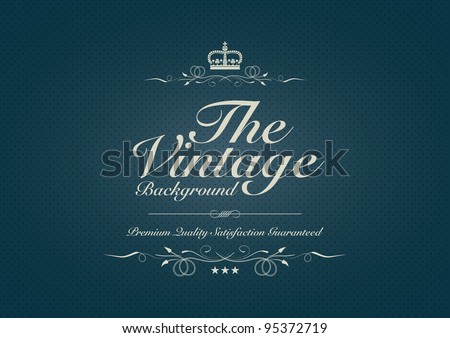 Blue dotted vintage background with ornament - stock vector