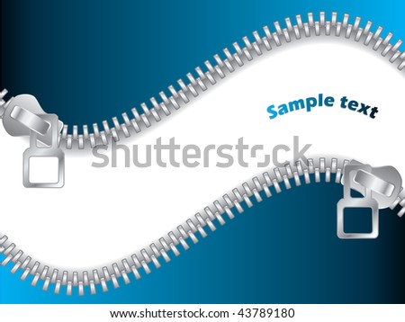 Blue Double Zippered - stock vector