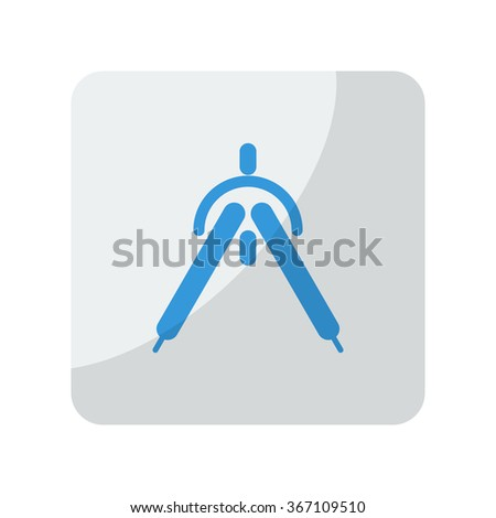 Blue Drafting Compass icon on grey rounded square button on white - stock vector