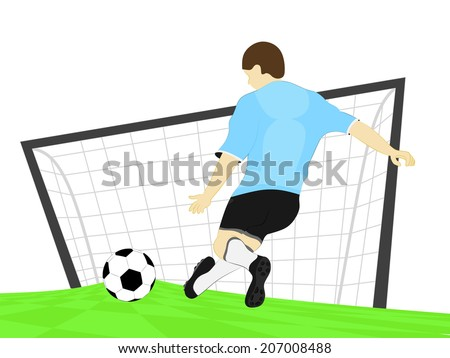 blue dress football player shooting penalty kick vector illustration - stock vector