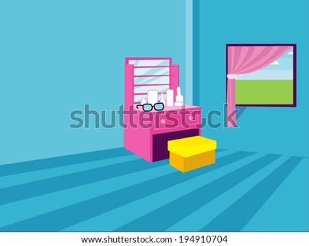 Blue dressing room cartoon vector - stock vector