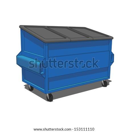 Blue dumpster - stock vector