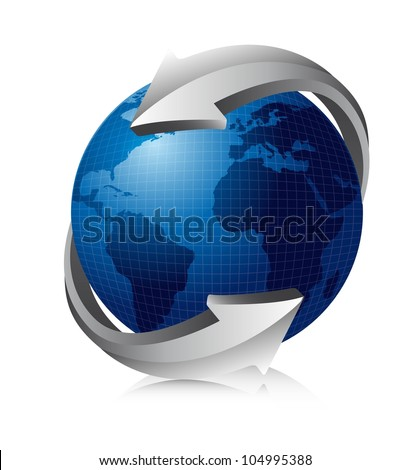 blue earth with silver arrows. vector illustration