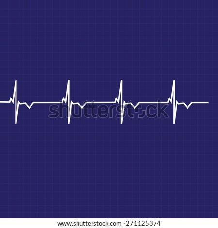 Blue ekg line on black background, heart monitor,heart rhythm vector  - stock vector