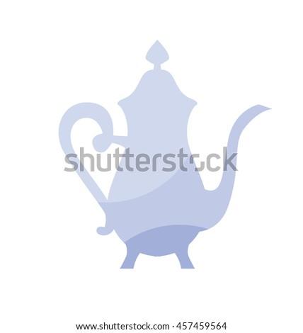 blue elegant  porcelain french vintage kettle icon. tableware symbol vector illustration. vintage antiques teapot logo - stock vector