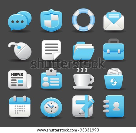 Blue Elegant series | business , internet,office,work icon set - stock vector